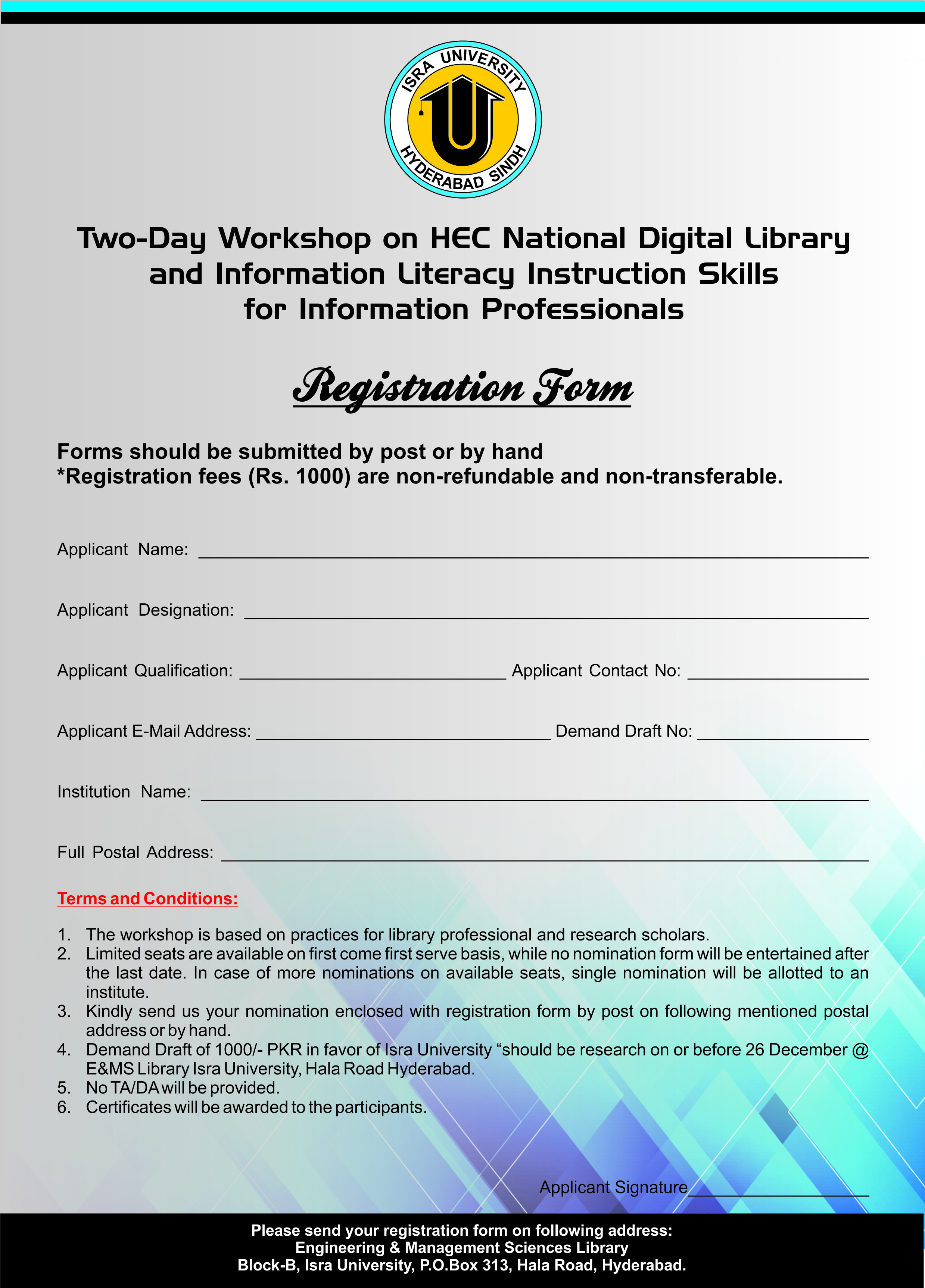 two day workshop on hec national digital library application form