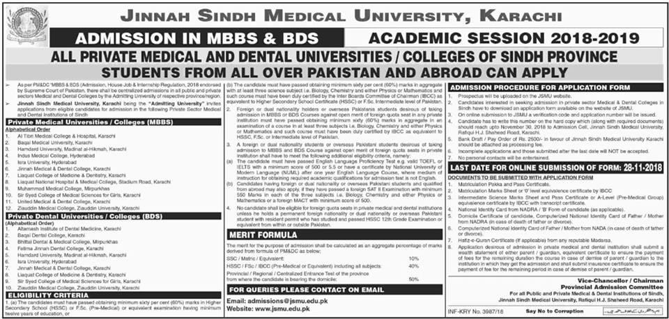 Admission in MBBS & BDS 2018-19 (JSMU, Karachi) - | Official